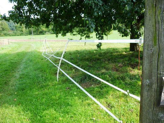 Der umgeknickte Zaun