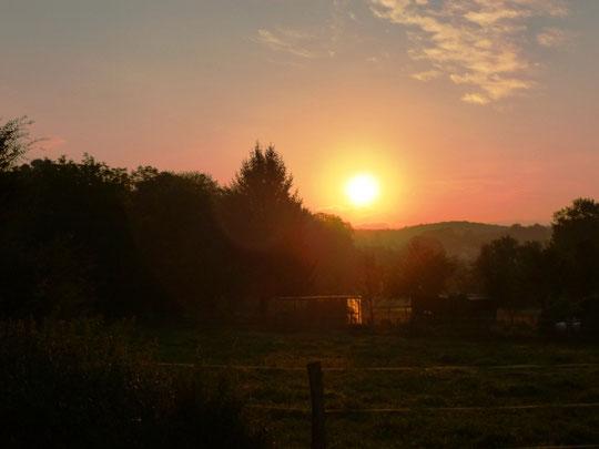 Sonnenaufgang heute Morgen am Stall