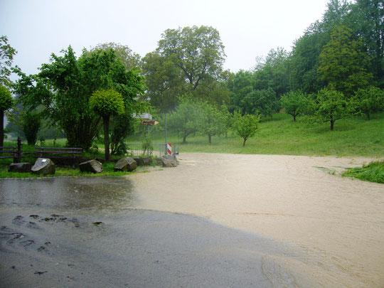 Der Weg zum Stall: unter Wasser - da sind wir mit dem Auto durchgefahren