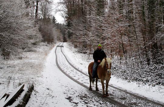 Gerret auf Amor im Winterwald