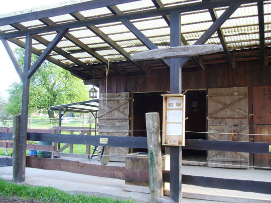 Der Stall mit unserer neuen Stalltafel mit Infos zu den Pferden und Visitenkarten zum Mitnehmen