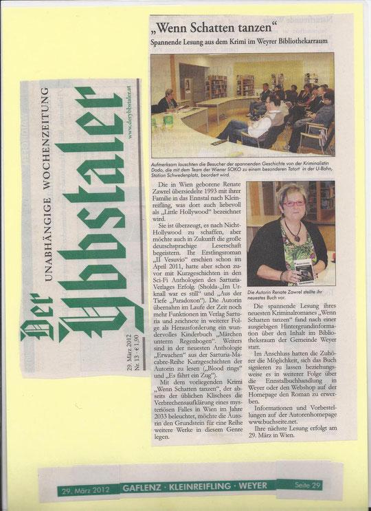 Artikel im Ybbstaler über die Lesung am 16.3.2012
