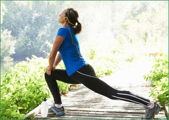 ランニング前の大腿四頭筋のストレッチ運動