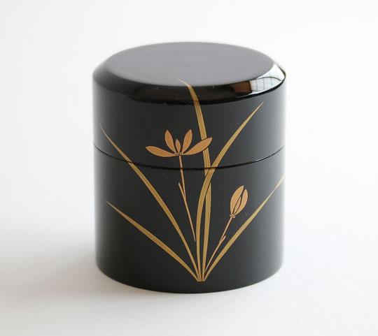 山中塗 うるし塗 漆塗 茶筒 黒ラン蒔絵 木製 水目桜