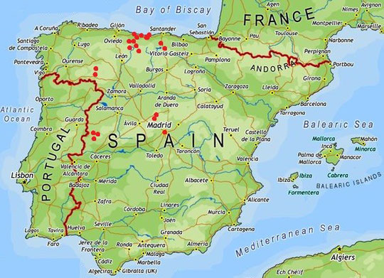 Overview Of Prospected Sites Our Route Lead Us Roughly From Madrid To The North And With A