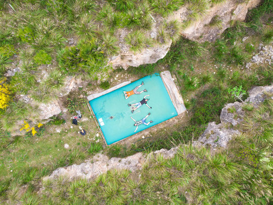 The team for Mallorca on the giant waterbed we found. © Wouter Beukema
