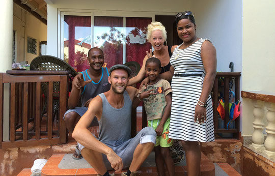 Laura and I with our friendly hosts Vincent, Mera and their son Saeed.  Vincent is goalkeeper for the Seychelles' national football team.