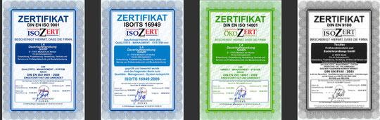 certified according to: DIN EN ISO 9001, ISO/TS 16949, DIN EN ISO 14001, DIN EN 9100