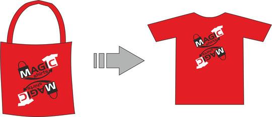 Stoffebeutel nach der Wandlung zu einem T-shirt!