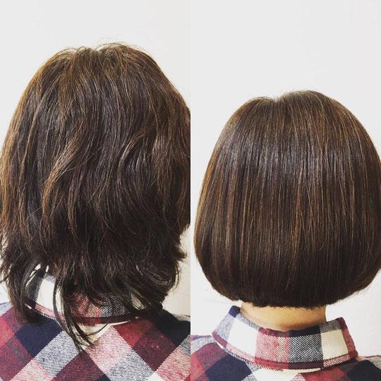 表面の凹凸が無くなり艶艶ツヤ髪。トリートメントストレート。