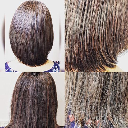かなりの損傷毛。縮毛矯正困難。ビビり毛。