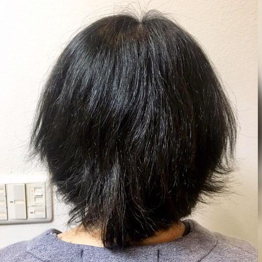縮毛矯正を施術前です。