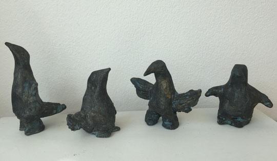 Kleine Vögel, Ton bemalt, 4 - 9 cm