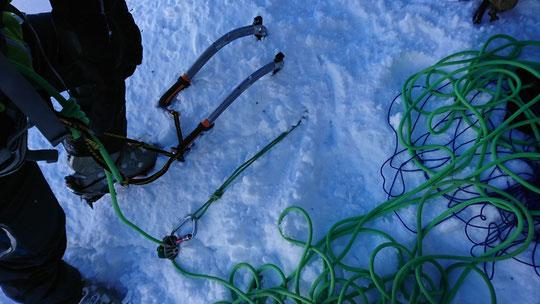 Skitour, Chli Spannort, Nordcouloir, Nordwand Couloir, Standplatz, Abseilen