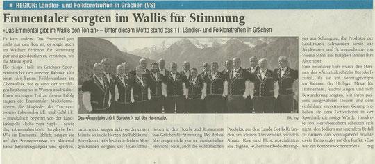 Aus der Zeitung D'Region vom 2. Oktober 2012
