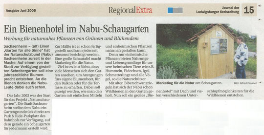 LKZ vom 01.06.2005 RegionalExtra über Bienenhotel im NABU-Schaugarten