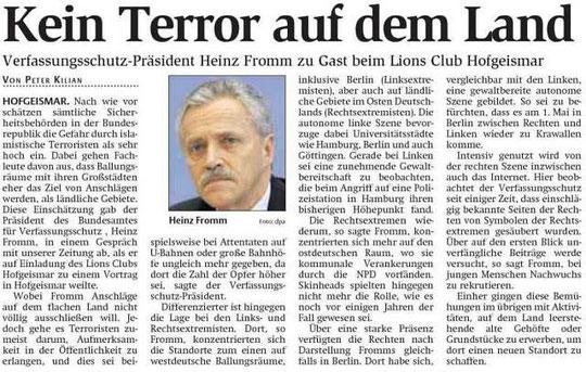 Artikel zum Interview der HNA mit Verfassungsschutzpräsident Fromm
