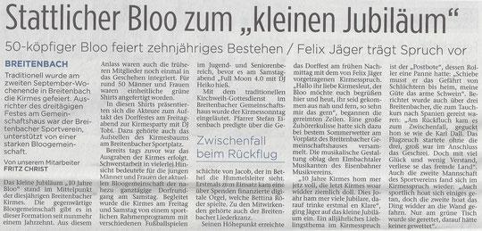 Presseartikel Kinzigtal-Nachrichten vom 13.9.2016