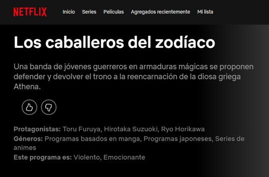 El anime clásico de Saint Seiya llegará a Netflix - Grupo