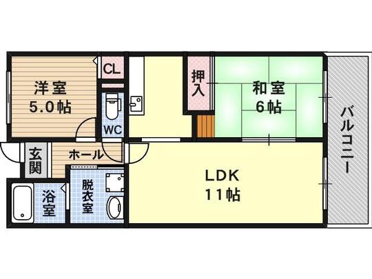 2LDK 56.48m2 独立キッチン
