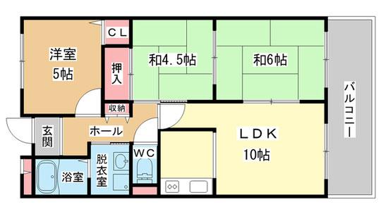 3LDK 60.68m2 独立キッチン