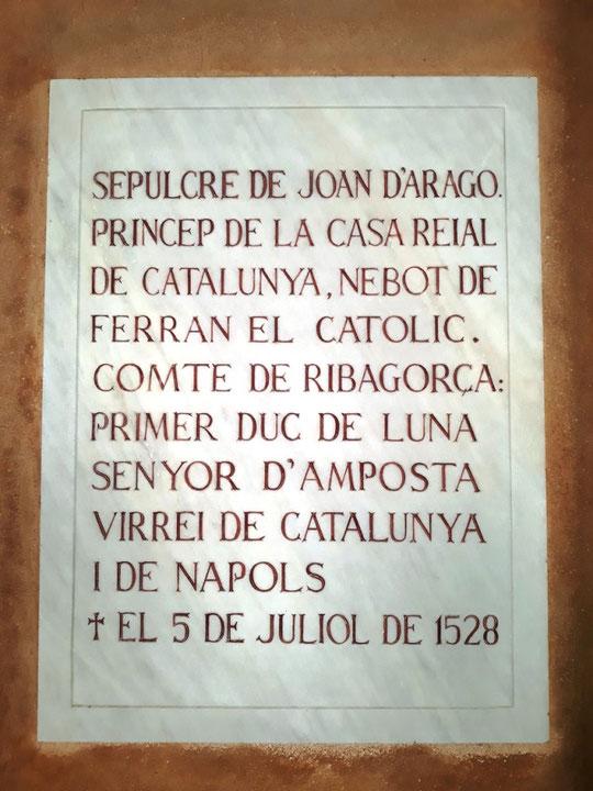 Достопримечательности монастыря Монсеррат - саркофаг Хуана Арагонского