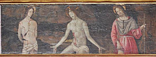 Barrettali - Eg St Pantaléon - Prédelle du retable de la Vierge à l'Enfant - XVè s.