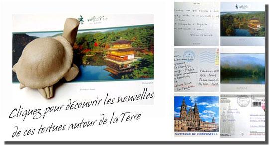 Lien vers le diaporama des cartes postales de Tortues autour de la Terre