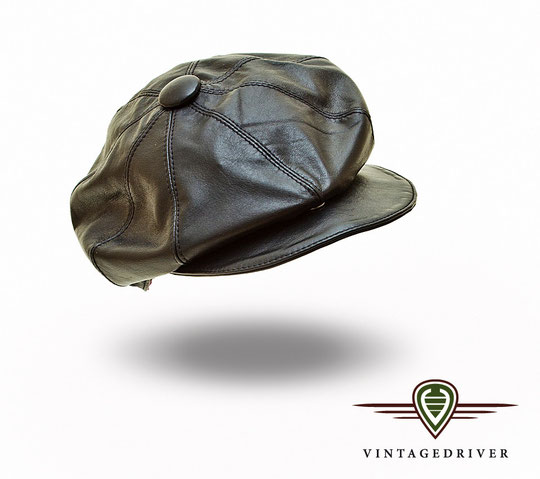 Schwarze Lederkappe von Vintagedriver