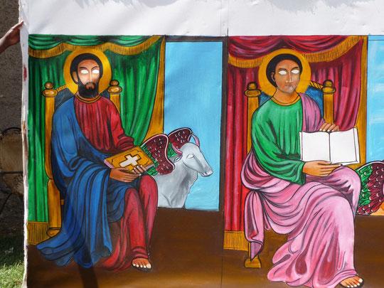 Les toiles ou gravures religieuses, liées à la Bible et à l'histoire dynastique des souverains éthiopiens sont présentes dans la quasi totalité des foyers coptes.