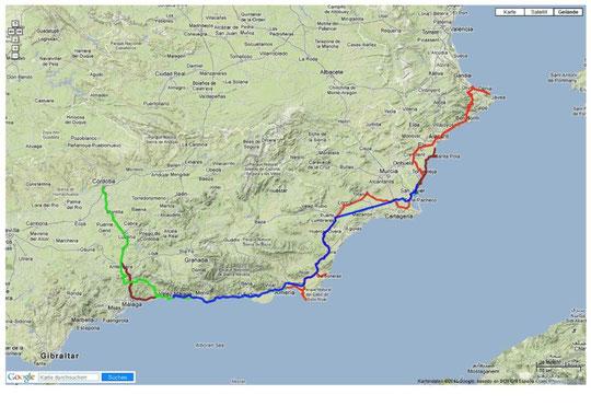 gefahrene Strecken: Spanien/Andalusien 2013 - klick an für interaktive Strecke!