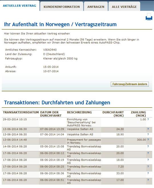 ...unsere vorläufige Abrechnung durch AUTOPASS [<18€]
