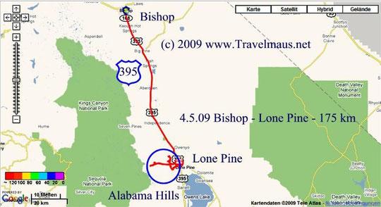 4.5.2009 Bishop - Lone Pine 175 km