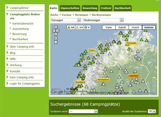 Link: Camping-Info; Campingplätze Norwegen