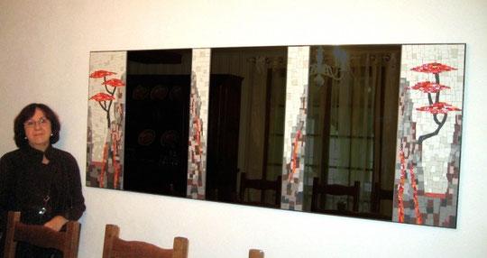 miroir en mosaïque, grés cérame et smalt