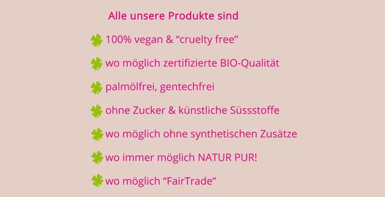 vegan, palmölfrei, natürlich, laktosefrei, glutenfrei, ohne Chemie, gentechfrei,...