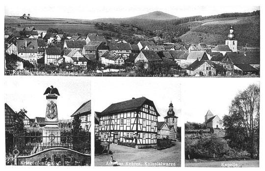 Oben: Rothenkirchen, Gesamtansicht. Unten: Kriegerdenkmal 1870/71, ehemalige Synagoge in der Brunnenstraße, Markuskapelle (eine der ältesten Kirchenbauten in Hessen)