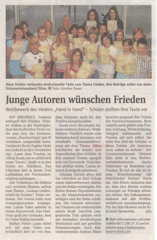 Autorenlesung am 16. Juni 2010 in der Stadtbibliothek Bad Kreuznach- Öffentlicher Anzeiger