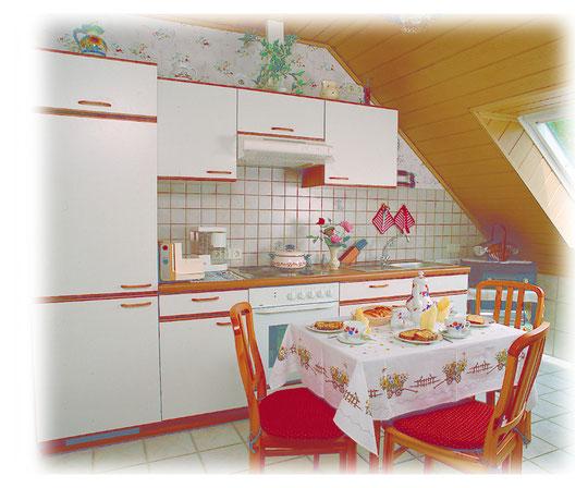Gemütliche Wohnküche mit Spülmaschine/Mikrowelle und Essecke