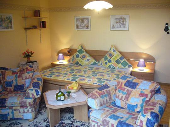 Gemütliches Wohn-Schlafzimmer mit direkten Zugang zur Südterrasse mit Markise!