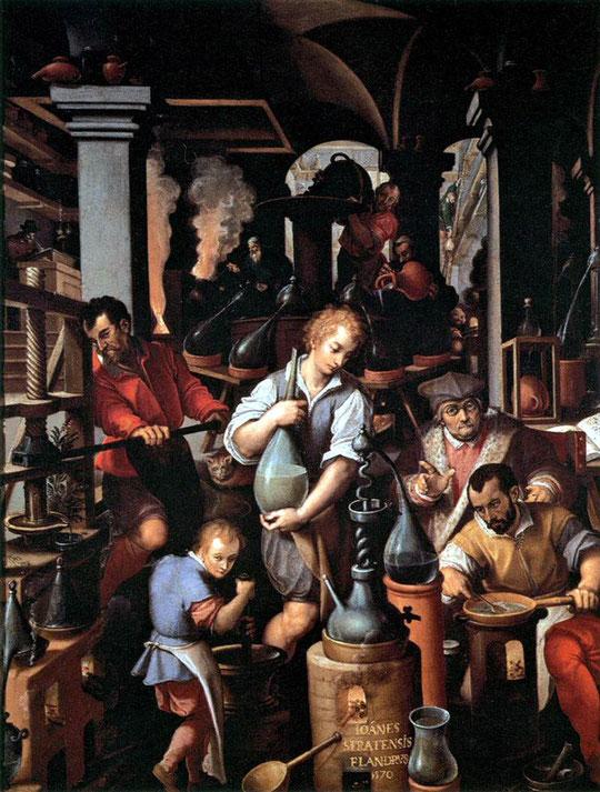 Giovanni Stradano, Il laboratorio dell'alchimista, 1570 ca.