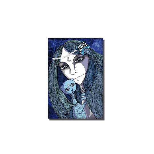 Magnet La fille et la bête bleue. Magnet rigide rectangulaire 80x55mm.