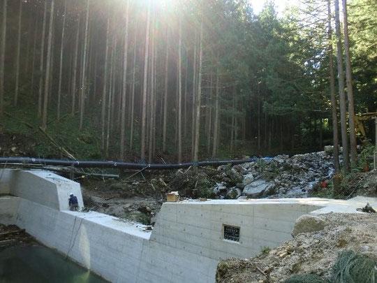 完成間近の砂防堰堤工事にも影響はないようです