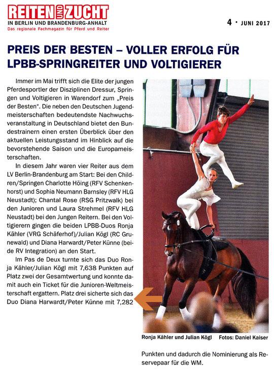 """Dritter Platz beim """"Preis der besten"""" in Warendorf für Volti-Duo des RVI, erschienen in der Juni Ausgabe """"Reiten und Zucht"""""""