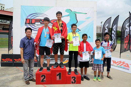 Speed Slalom Junior Men podium by Carroll Wong