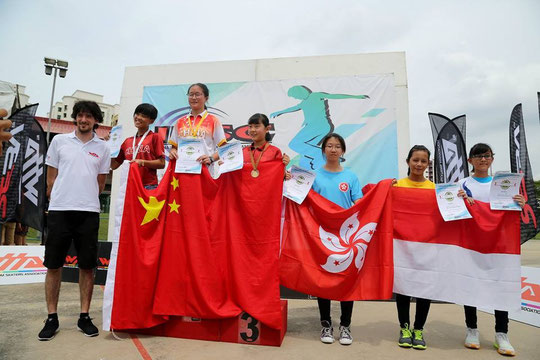 Speed Slalom Junior Women podium by Carroll Wong