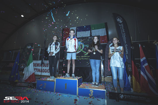 Junior Women Speed Slalom podium. Credit : Anthony Finocchiaro
