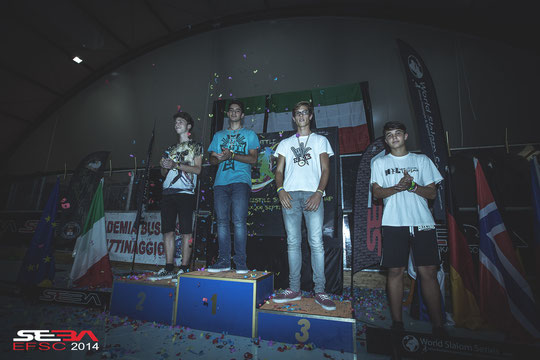 Junior Men Speed Slalom podium. Credit : Anthony Finocchiaro