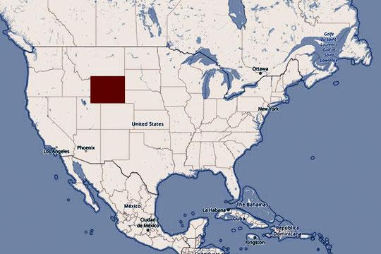 Karte USA, Wyoming, Cowboystaat, der Wilde Westen