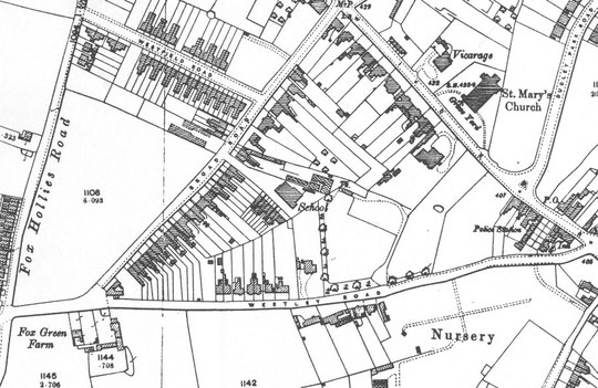 O.S. map extract, 1904. By then, several houses were on the south side of the road, and a nursery was in business to the east.